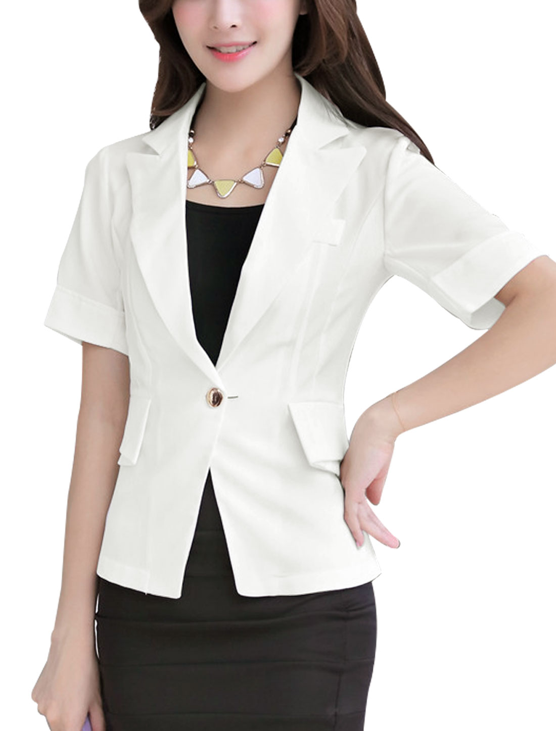 Lady Short Sleeve Button Closure Mock Pockets Blazer Jacket White M