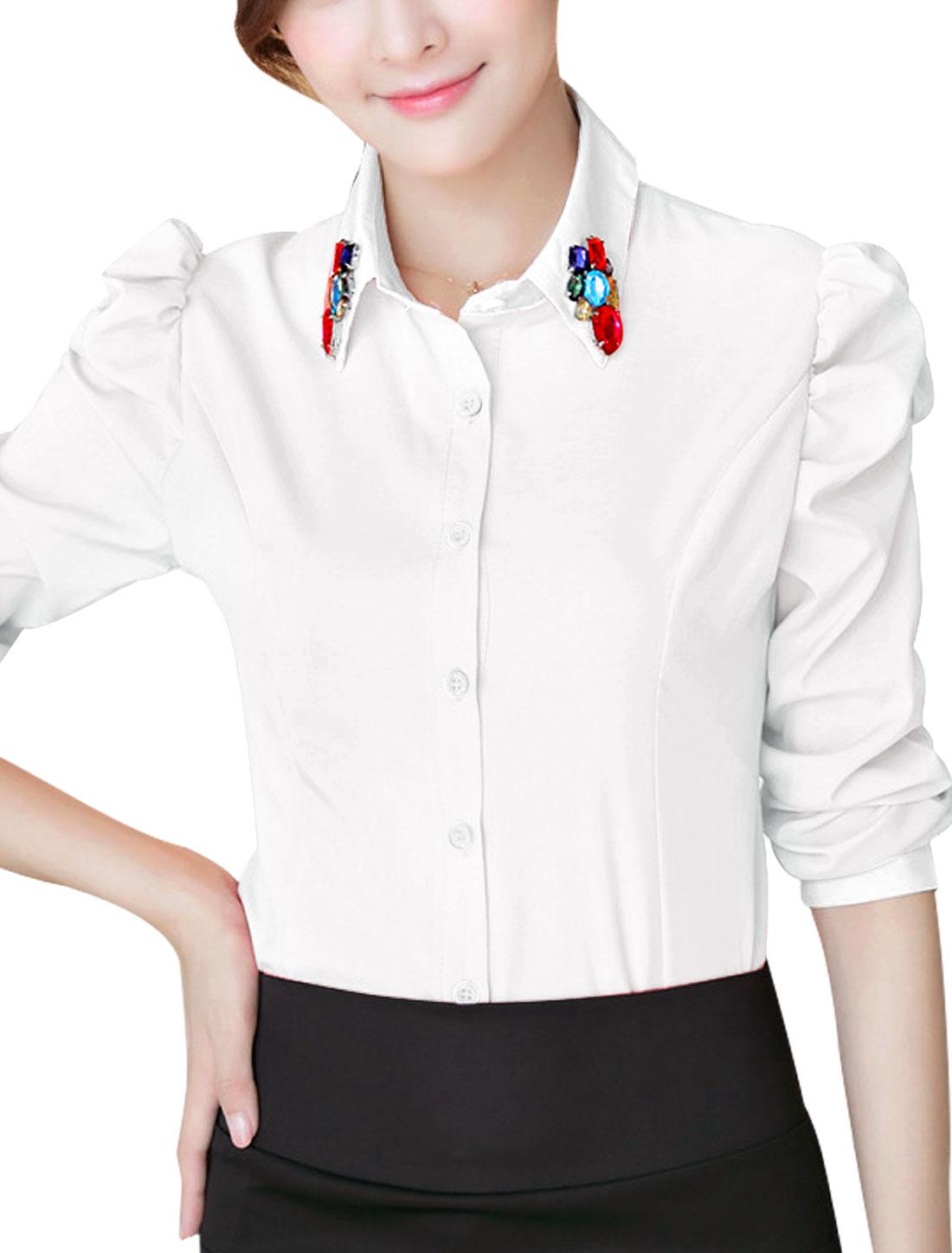 Women Rhinestones Embellished Puff Sleeve Single Breasted Shirt White L