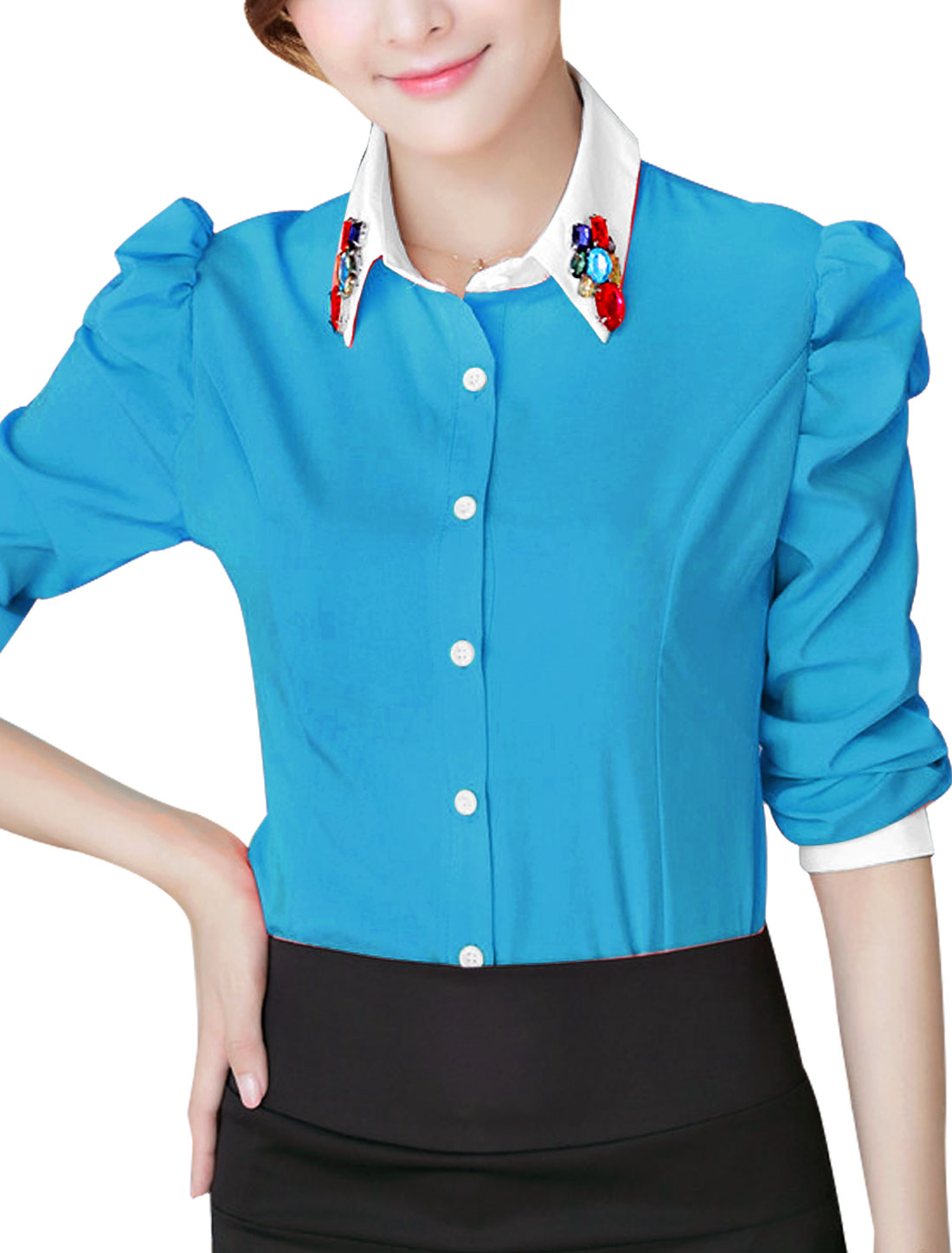 Lady Point Collar Puff Sleeve Round Hem Casual Shirt Blue L