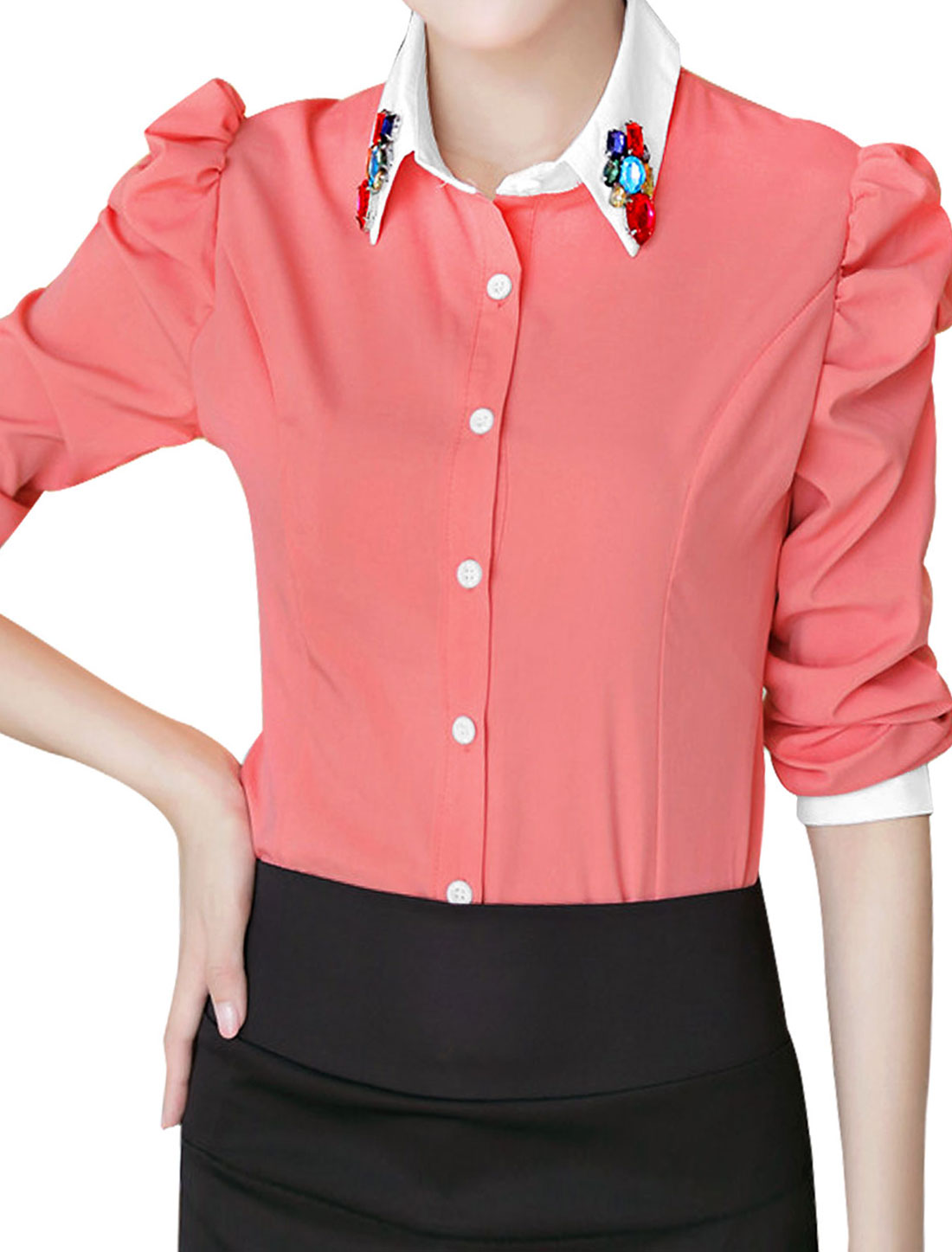Women Puff Sleeve Button Closure Front Casual Shirt Salmon L