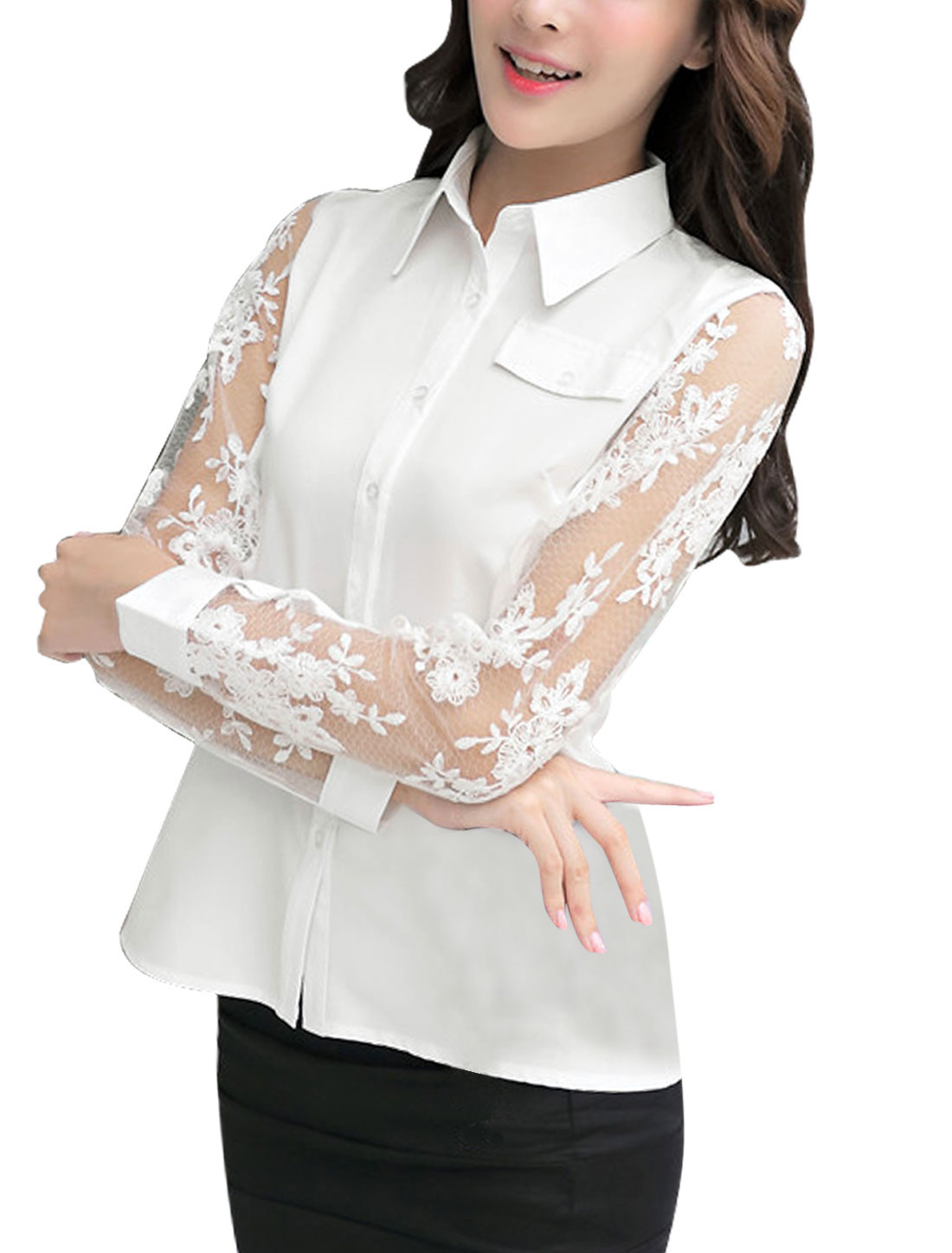 Women Mesh Panel Single Breasted Mock Pocket Shirt White M