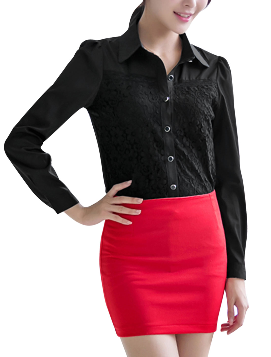 Lady Long Sleeve Single Breasted Point Collar Casual Shirt Black M