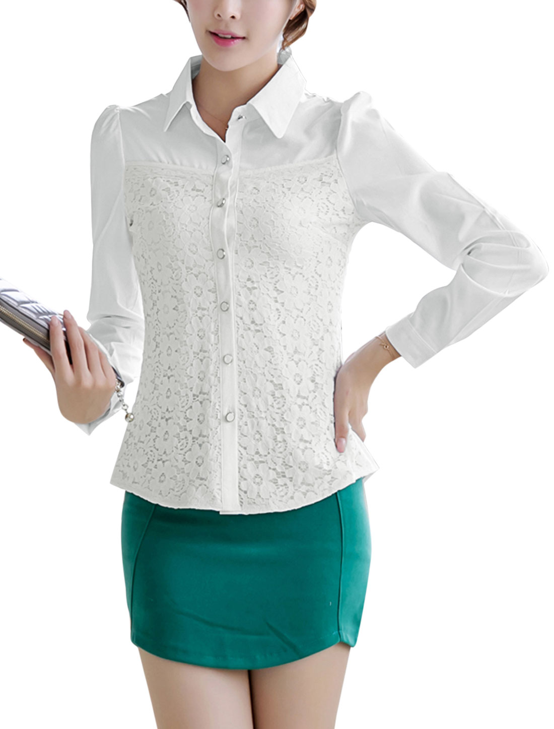 Lady Point Collar Lace Panel Front Casual Shirt White M