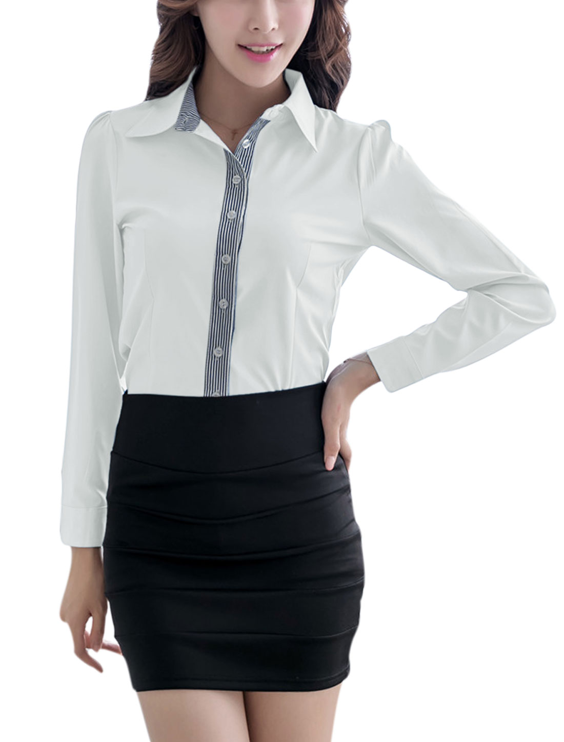 Lady Long Sleeve Point Collar Button Cuffs Casual Shirt White L