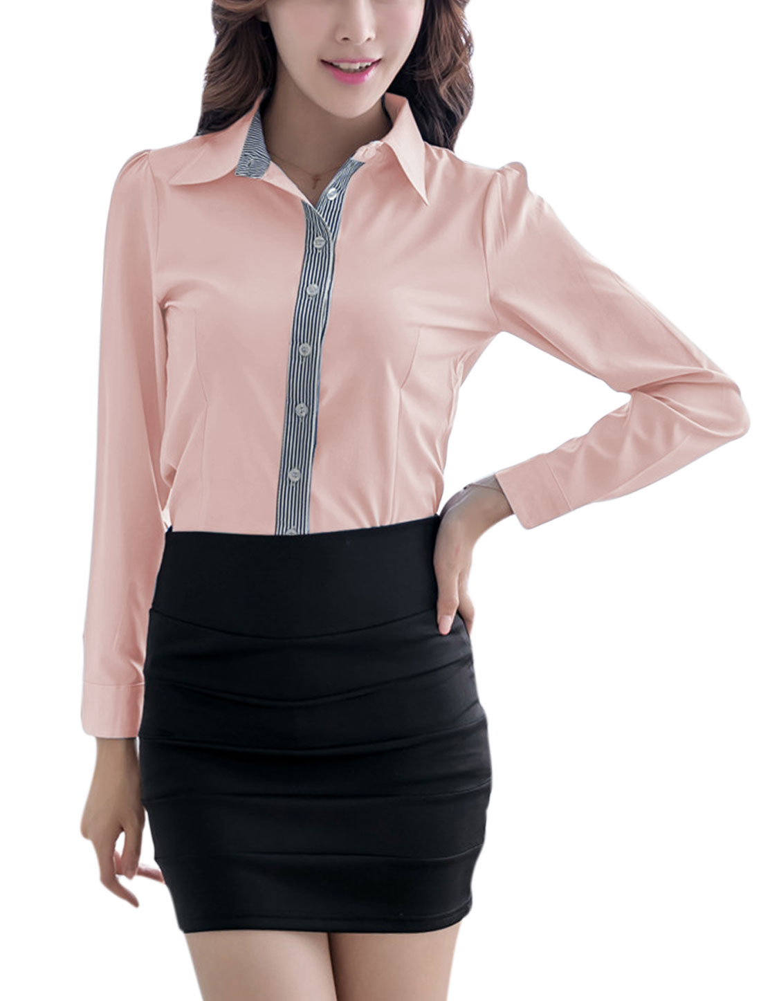 Lady Long Sleeve Button Cuffs Stripes Detail Leisure Shirt Pink L