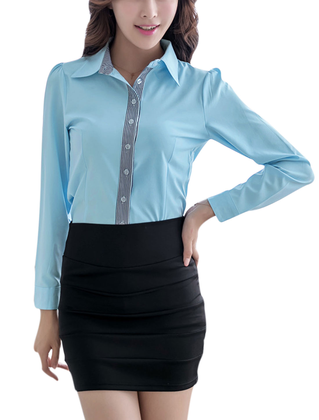 Lady Long Sleeve Point Collar Round Hem Casual Shirt Blue L