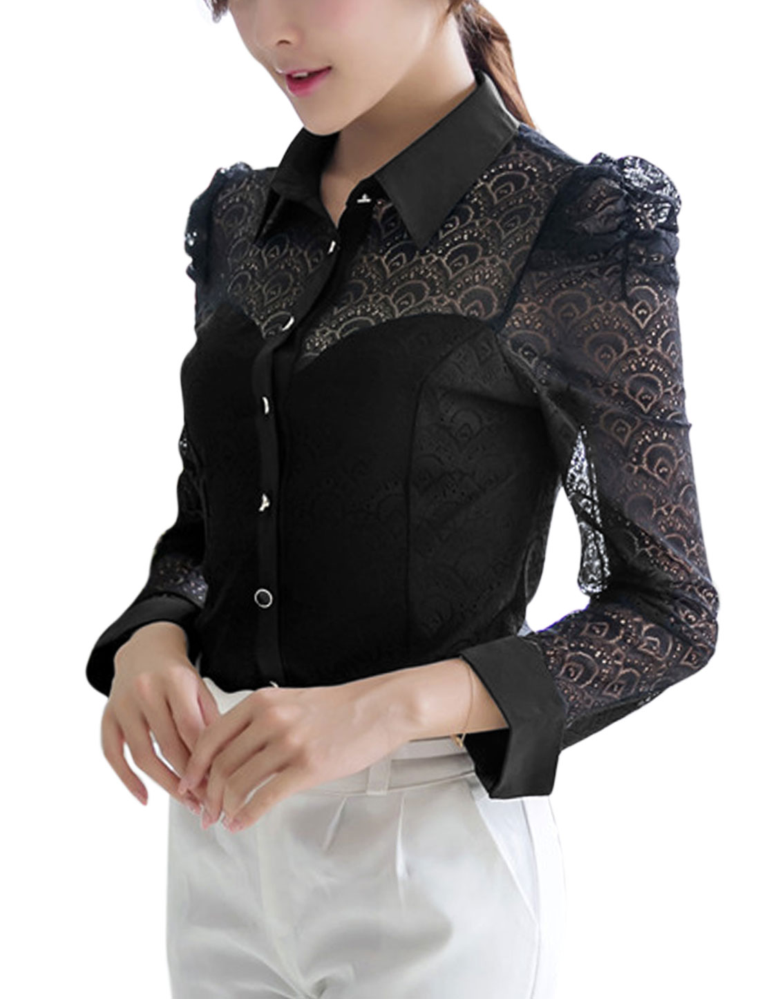 Lady Long Puff Sleeve Point Collar Single Breasted Shirt Black L