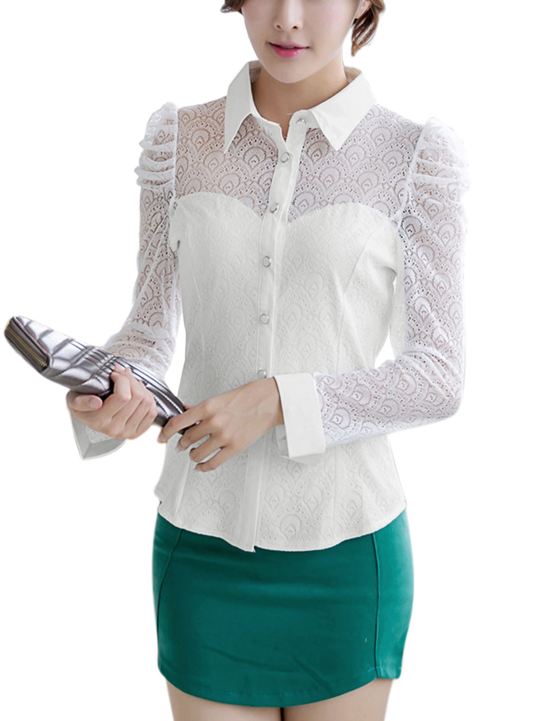 Lady Long Puff Sleeve Point Collar Round Hem Casual Shirt White L