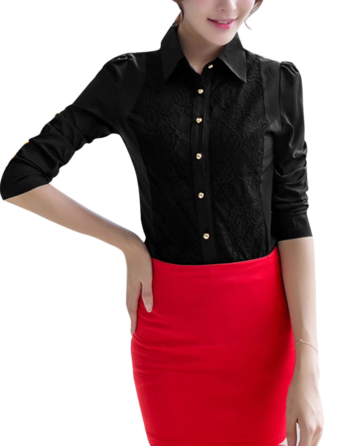 Women Long Puff Sleeves Single Breasted Lace Patched Front Elegant Shirt Black L