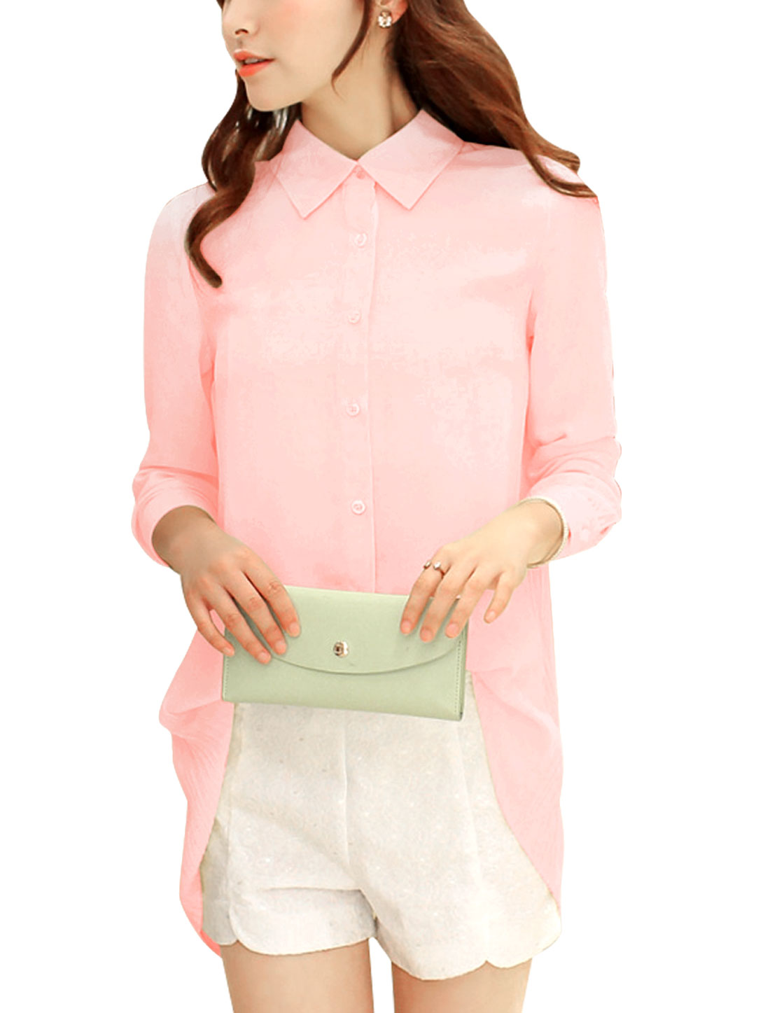 Women Button Closure Front Pleated Back Loose Fit Blouse Pink M