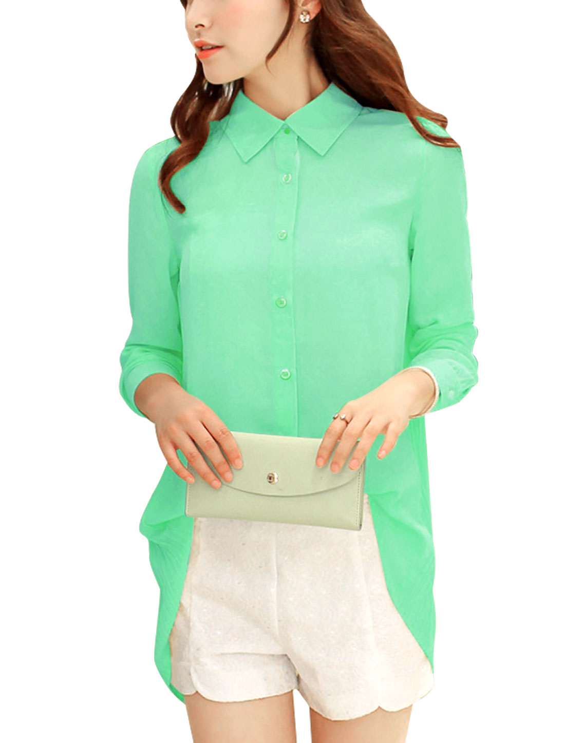 Women Button Closure Front Irregular Hem Casual Loose Blouse Mint M