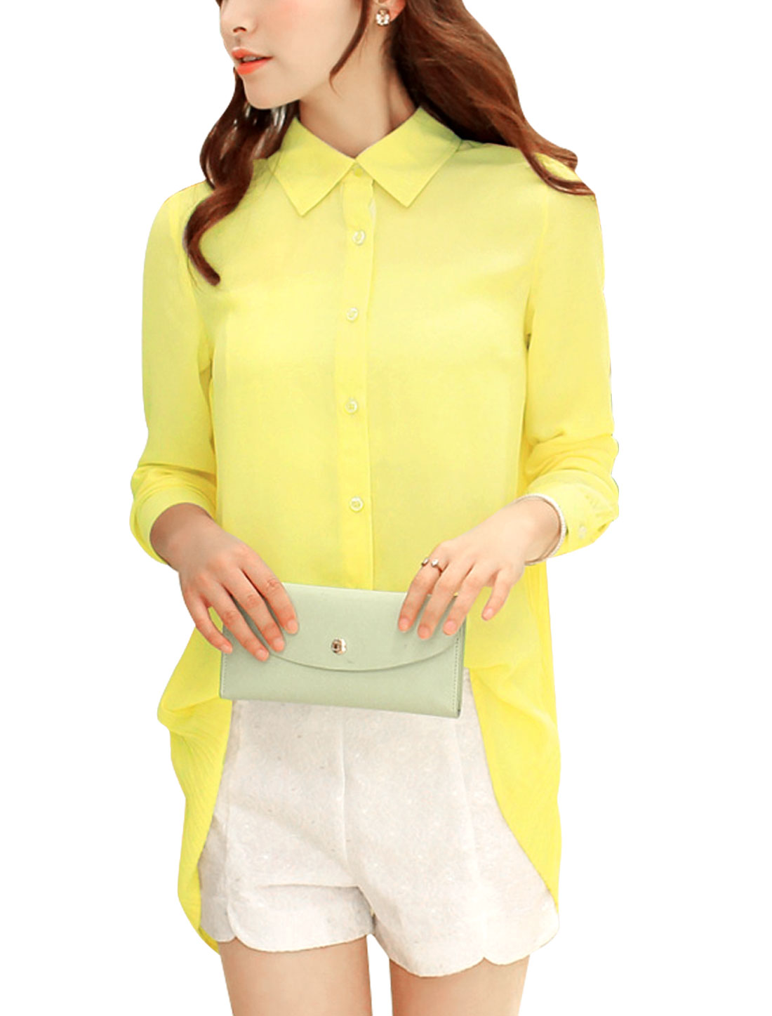 Lady Sweet Style Long Sleeve Low-High Hem Casual Blouse Yellow M