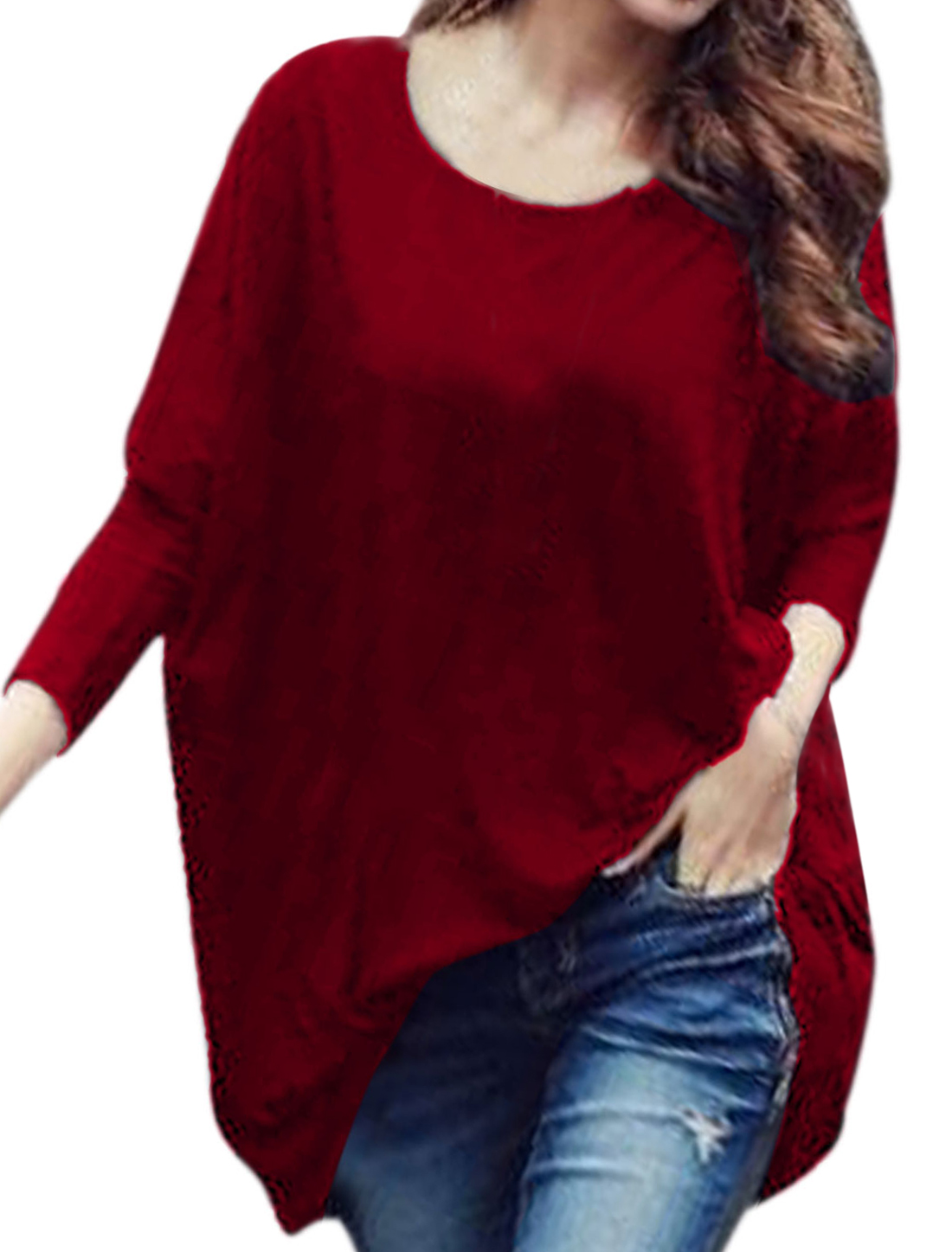 Lady Round Neck Batwing Sleeve Loose Fit Tunic Top Red M