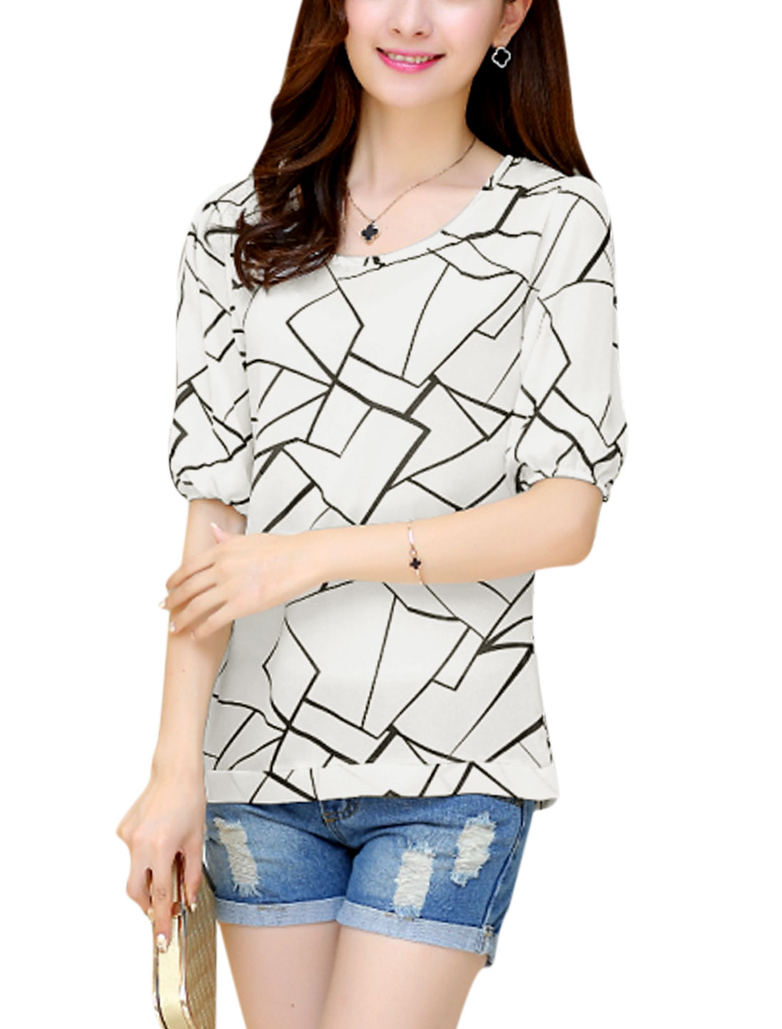 Women Geometric Pattern Tie Side Hem Semi Sheer Chiffon Top White S