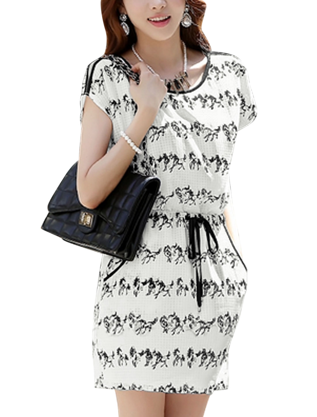 Lady Short Sleeve Cut Out Shoulder Round Neck Pullover Dress White M