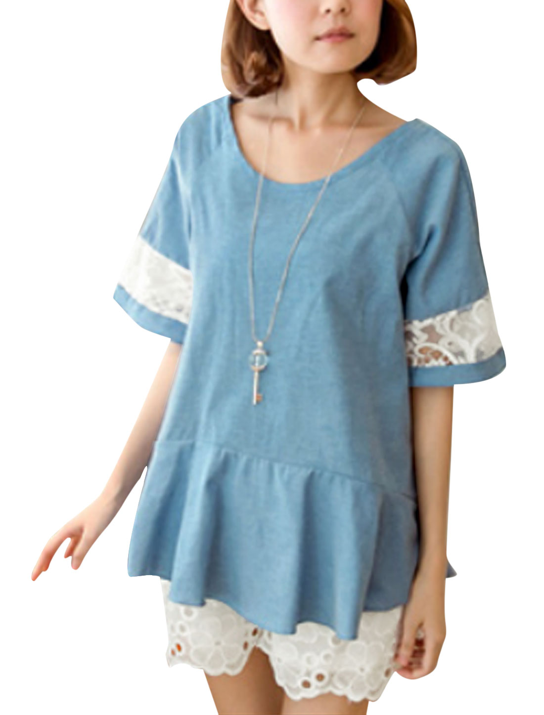 Lady Round Neck Tie Back Flouncing Style Casual Top Blue S