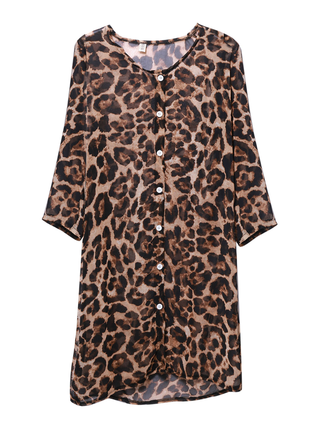 Lady Leopard Pattern Single Breasted Chiffon Tunic Blouse Chocolate S