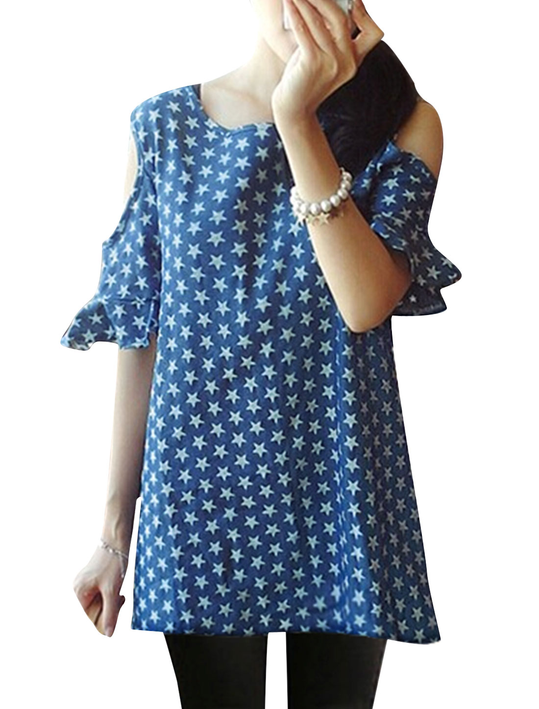 Lady Cut Out Shoulder Stars Pattern Casual Tunic Top Blue S