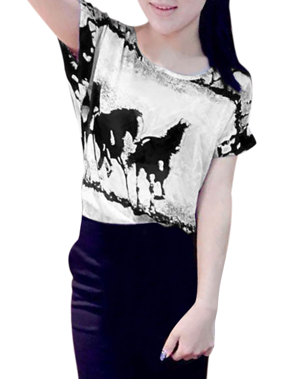 Women Round Neck Horses Pattern Short Sleeve Casual Chiffon Top White S