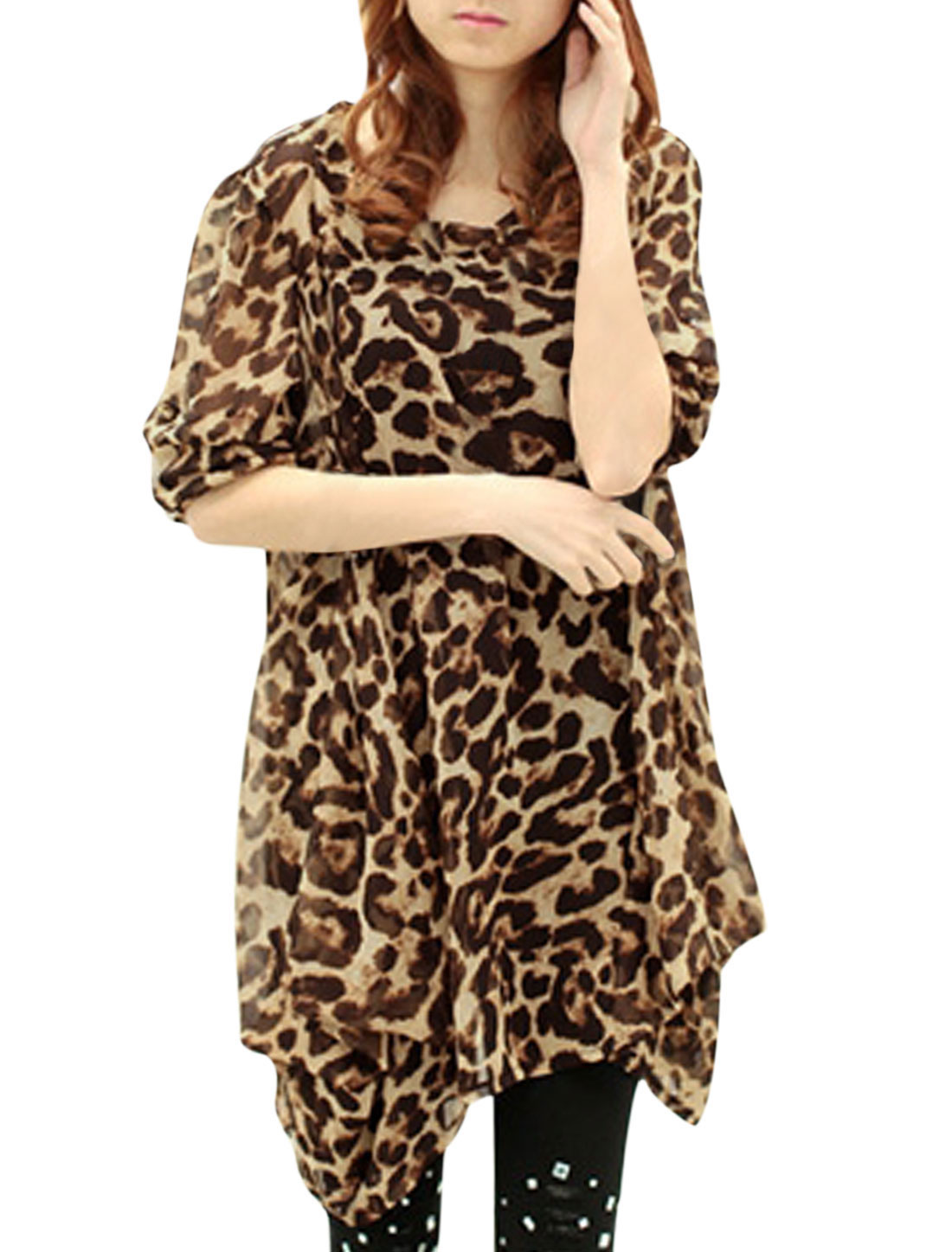 Women Leopard Pattern Asymmetric Hem See Through Unlined Tunic Top Chocolate S