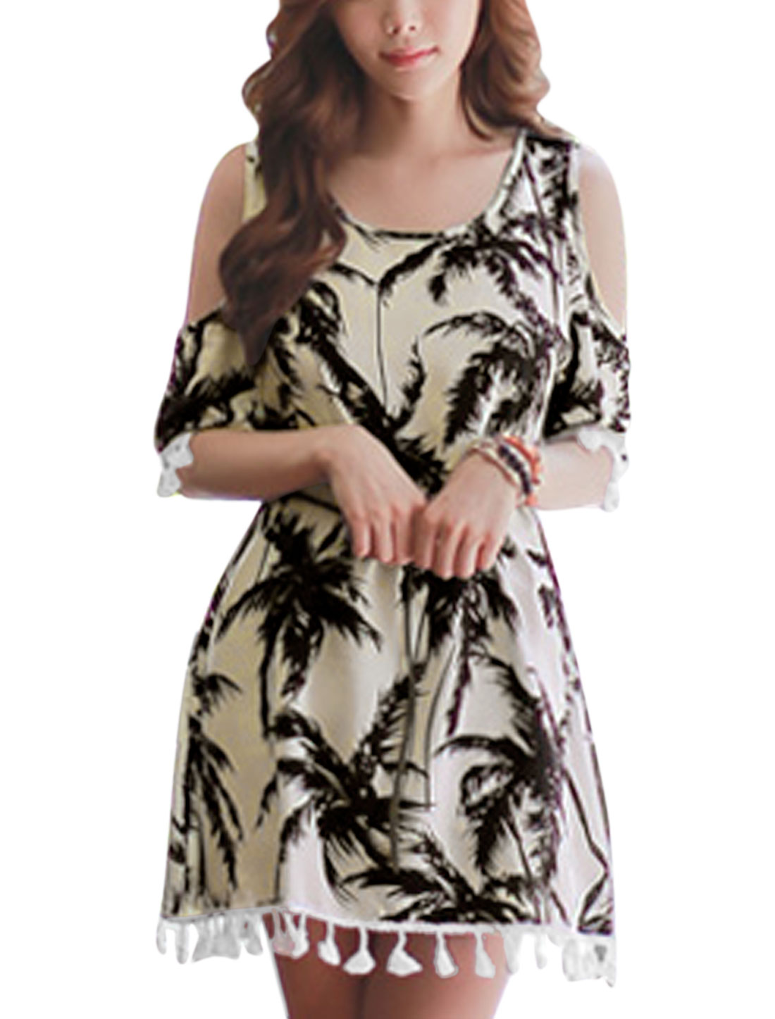 Women Trees Pattern Cold Shoulder Short Dress w Waist String Beige S