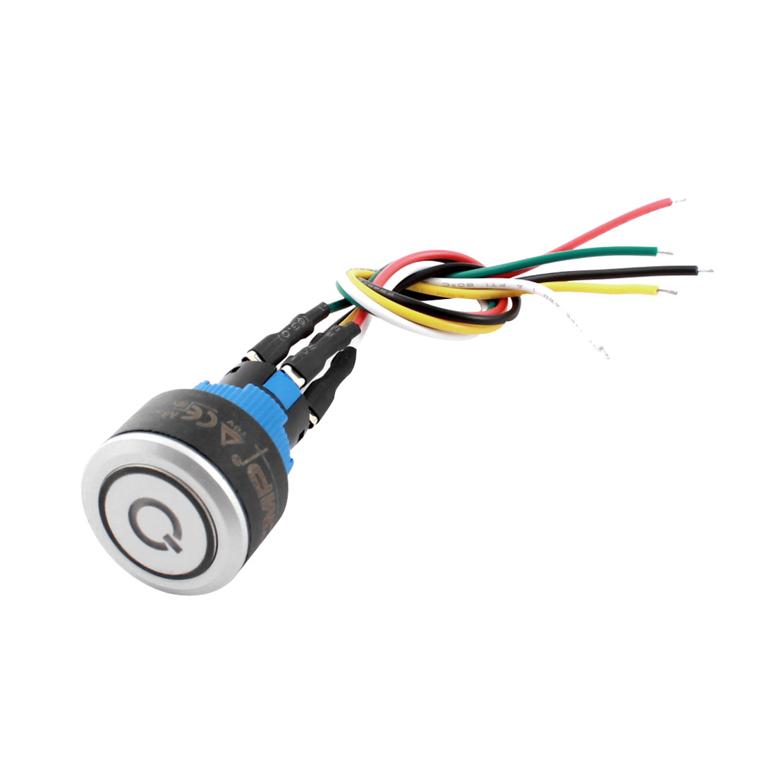 DC12V 20mm Panel Mount SPDT Momentary Metal Nut Pluggable Wire Blue LED Car Pushbutton Switch