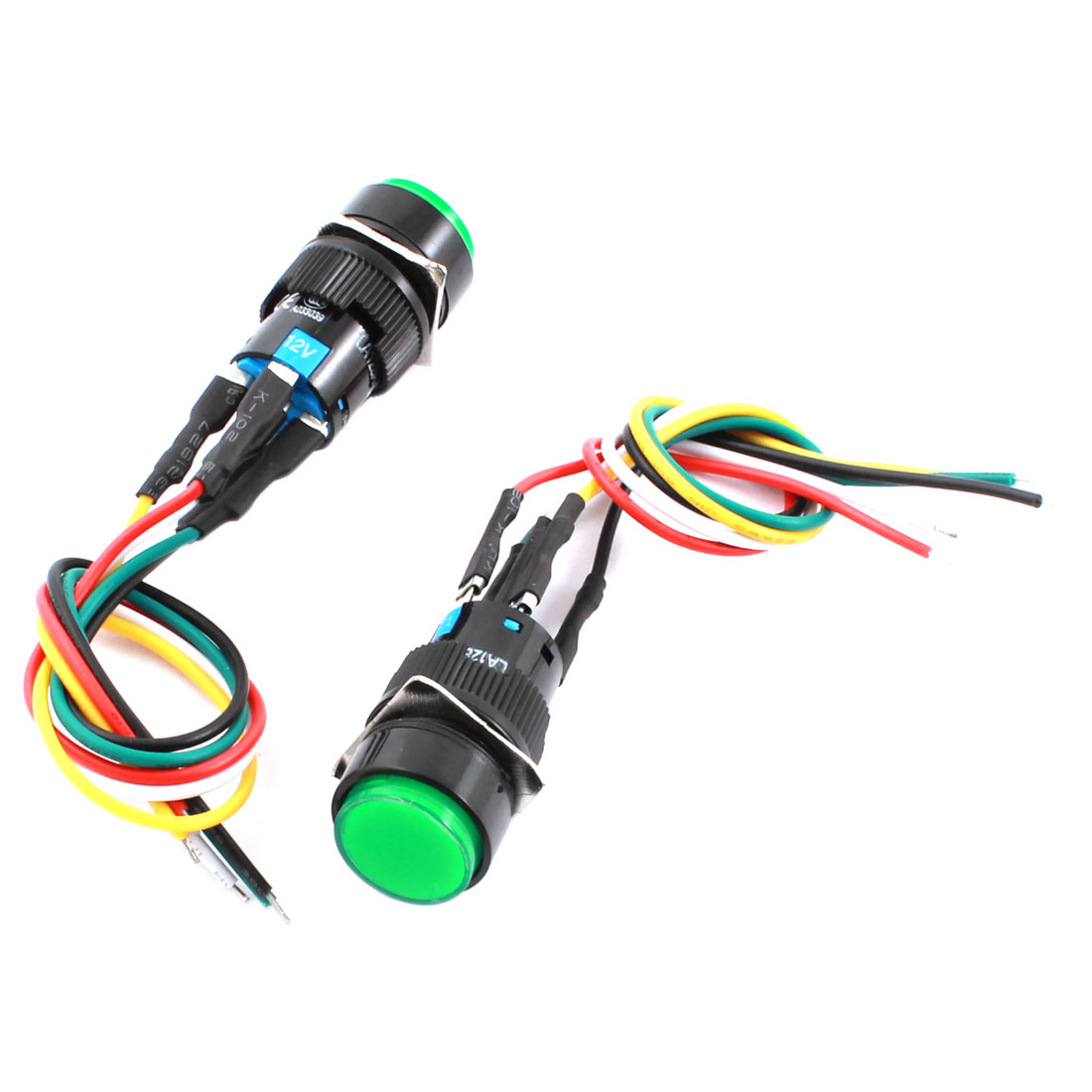 2Pcs DC 12V 16mm Thread Panel Mount 5-Wire SPDT 1NO 1NC Latching Control Green Pilot Lamp Push Button Switch