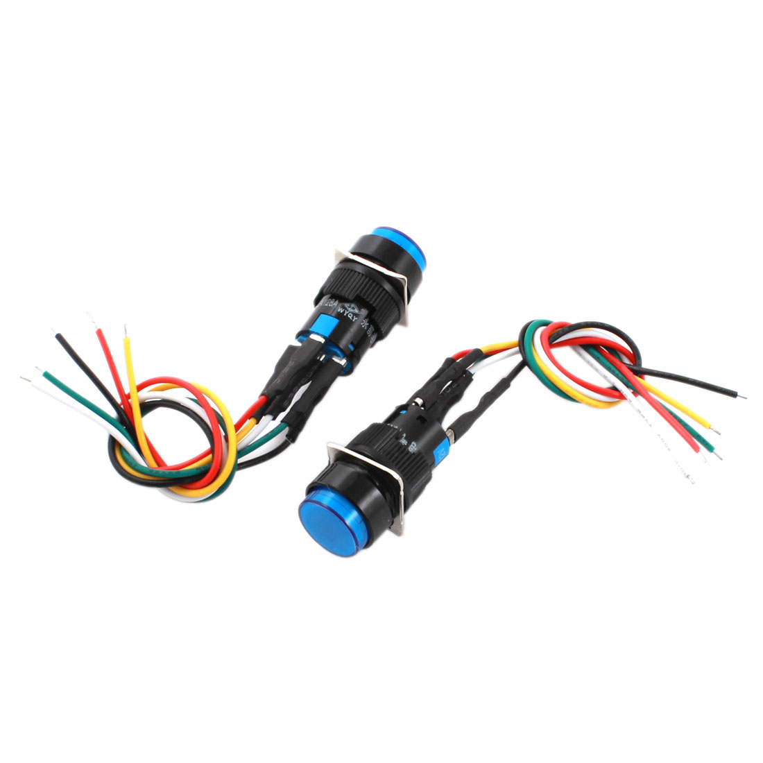 2Pcs DC 12V 16mm Thread Panel Mount SPDT 1NO 1NC Locking 5-Wire Blue Lamp Pushbutton Switch