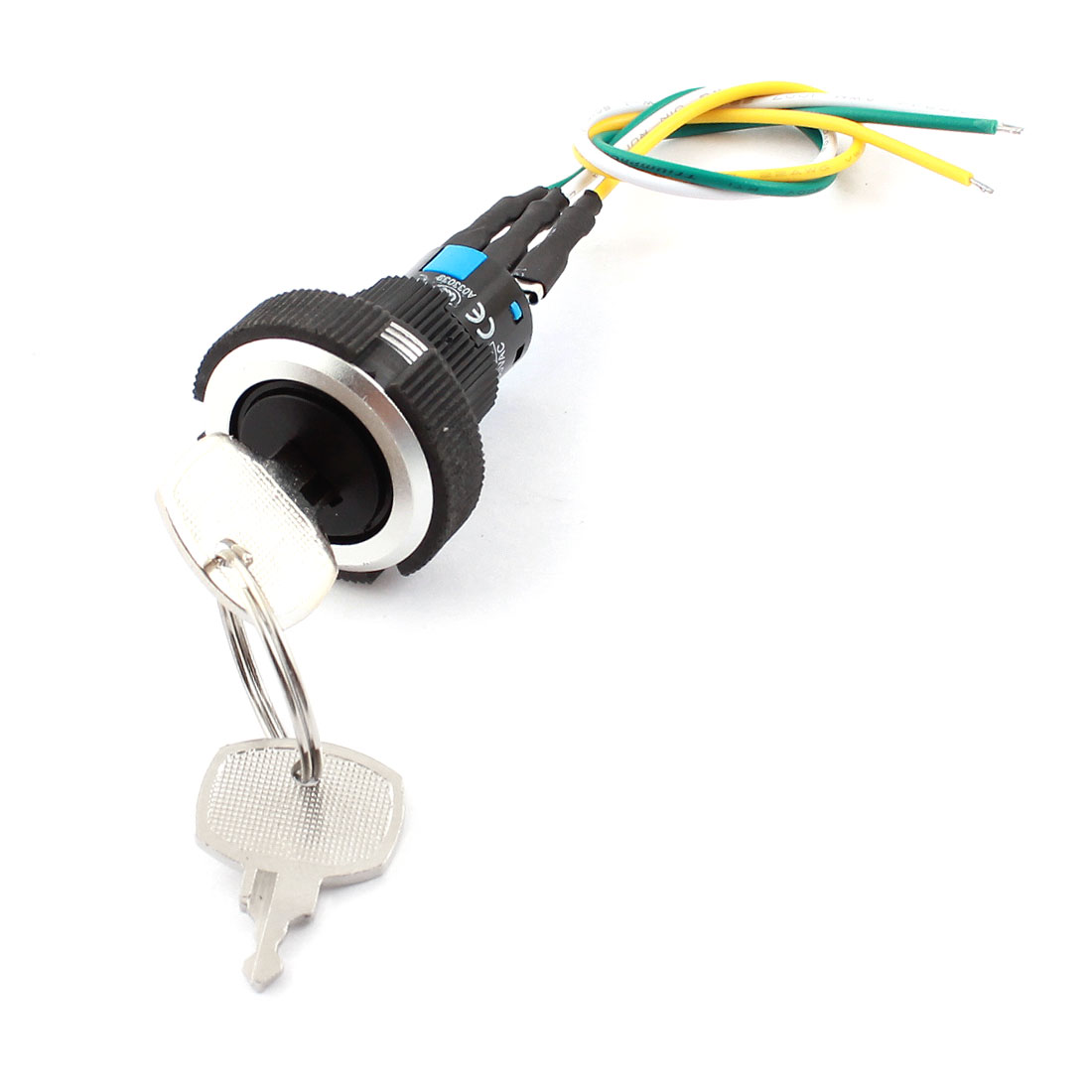 AC 220V/250V 5A 22mm Dia Thread Panel Mount SPDT 1NO 1NC 2-Position Pluggable Wire Terminal Key Rotary Selector Switch