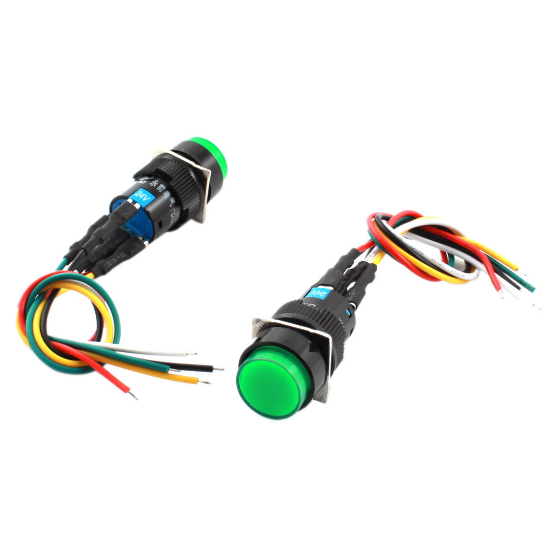 2Pcs DC24V 16mm Thread Panel Mount 5 Wires SPDT 1NO 1NC Locking Green Pilot Lamp Pushbutton Switch