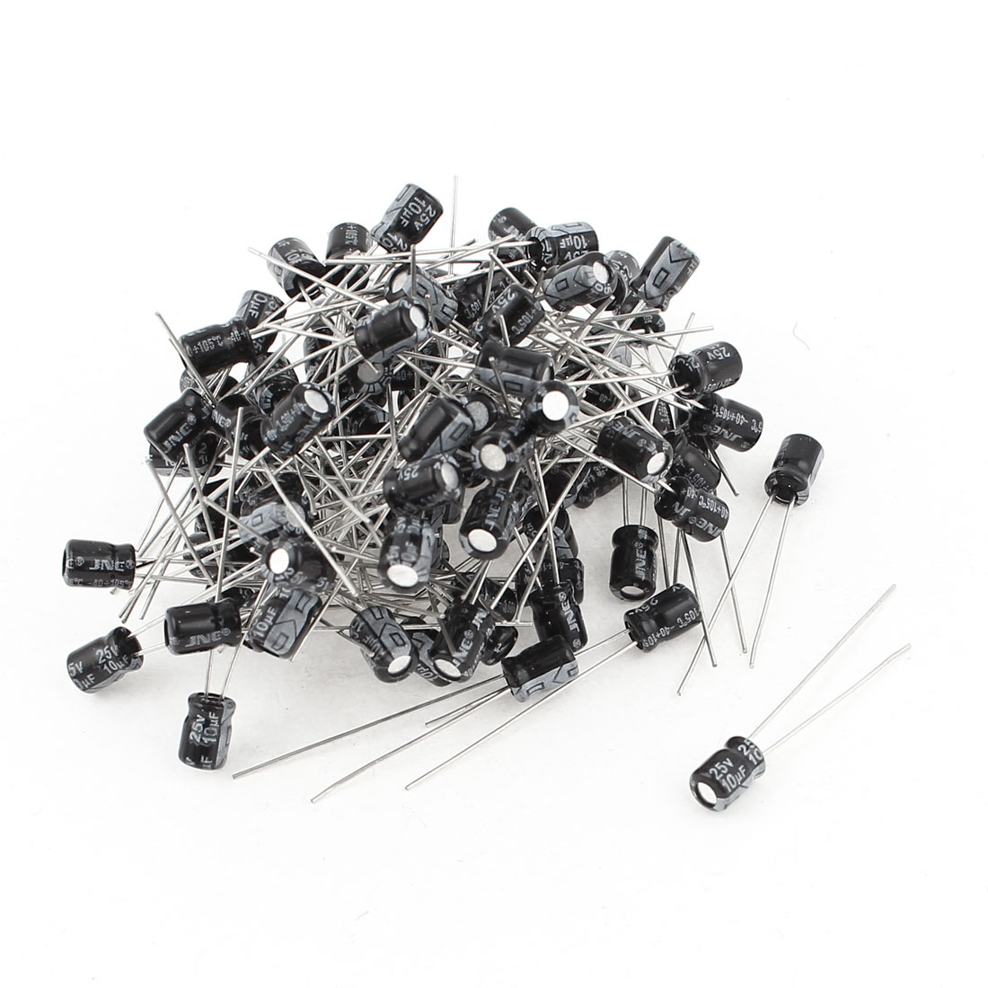 100Pcs 4x6mm Radial Lead Cylindrical Aluminium Electrolytic Capacitor 25V 10uF