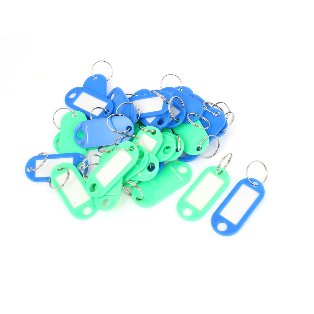 Green Blue Plastic Key Fobs Luggage ID Label Tag Keyring Keychain 30 Pcs