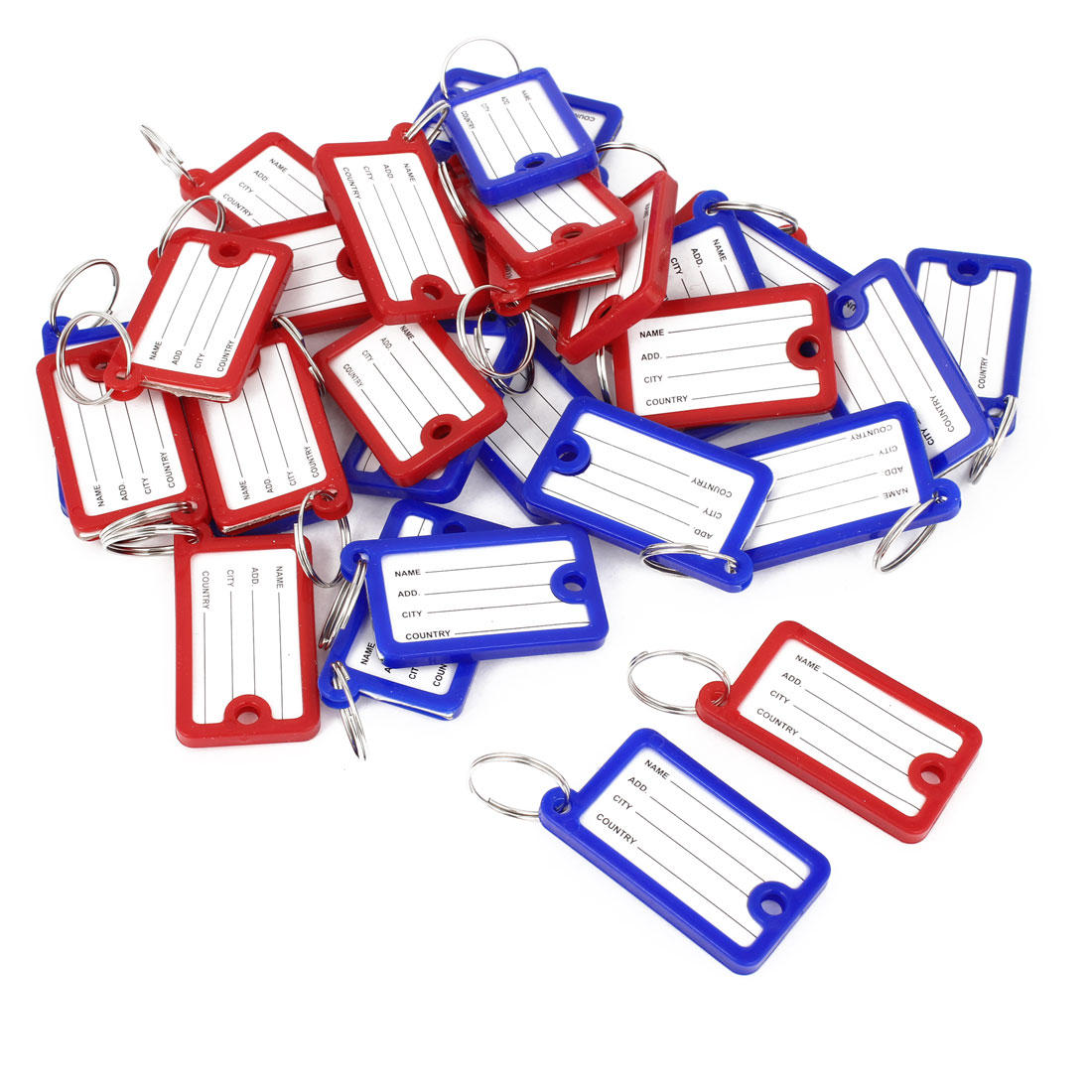 Blue Red Plastic Key Fobs Luggage ID Label Tag Keyring Keychain 30 Pcs