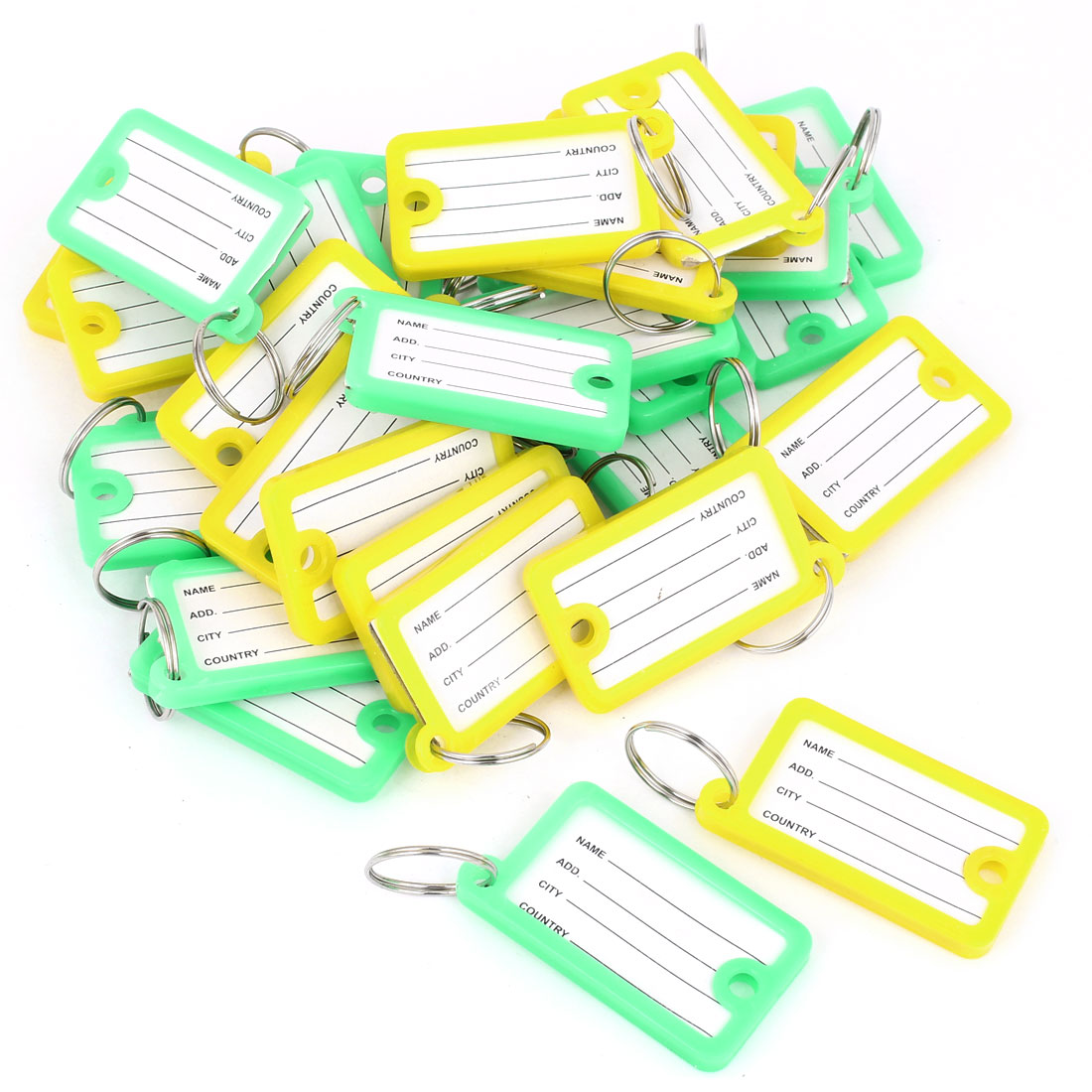 30 Pcs Plastic 45mm x 25mm Key Room ID Tag Name Label Keyring Green Yellow