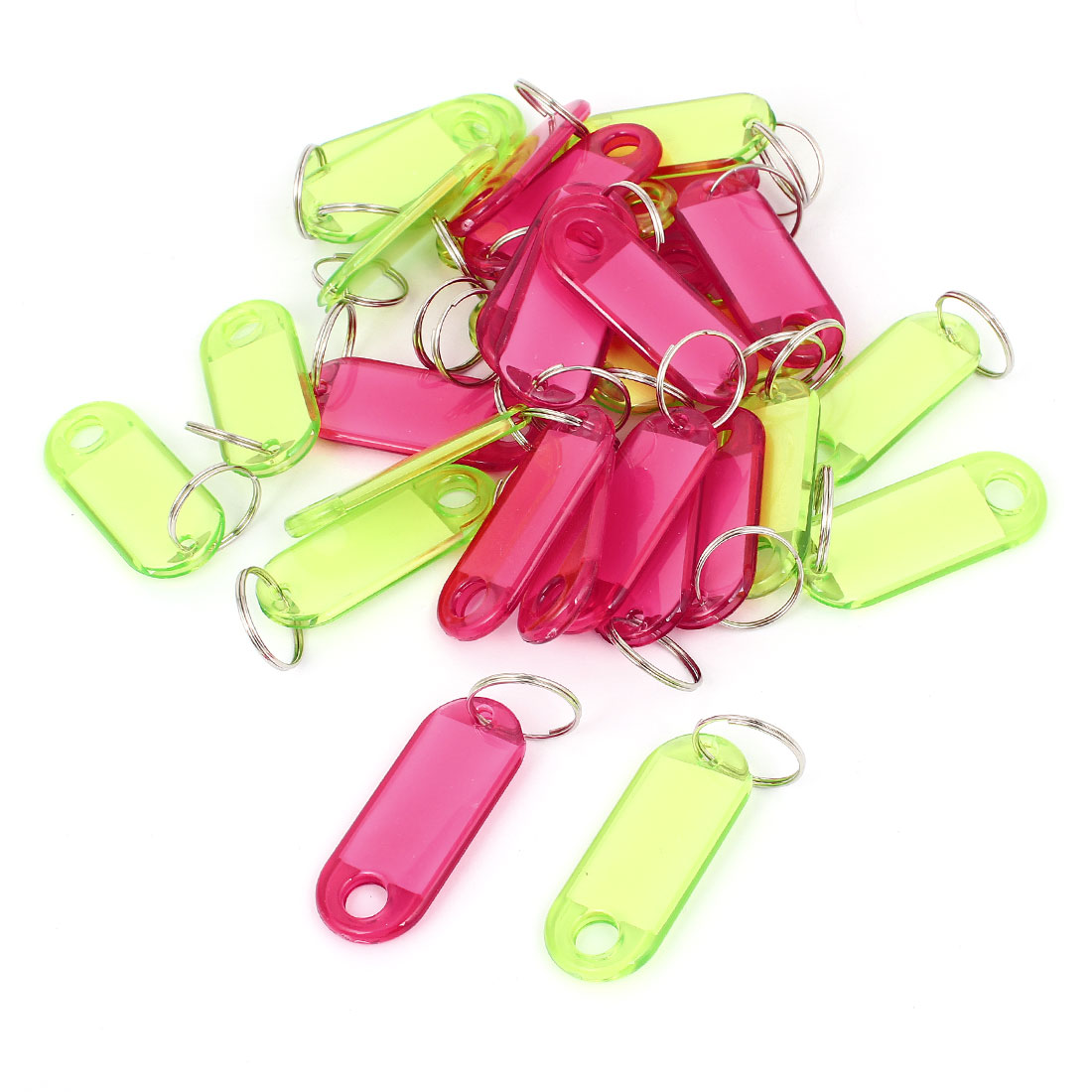 Plastic Key Fobs Luggage ID Label Tag Keyring Keychain Green Red Clear 30 Pcs