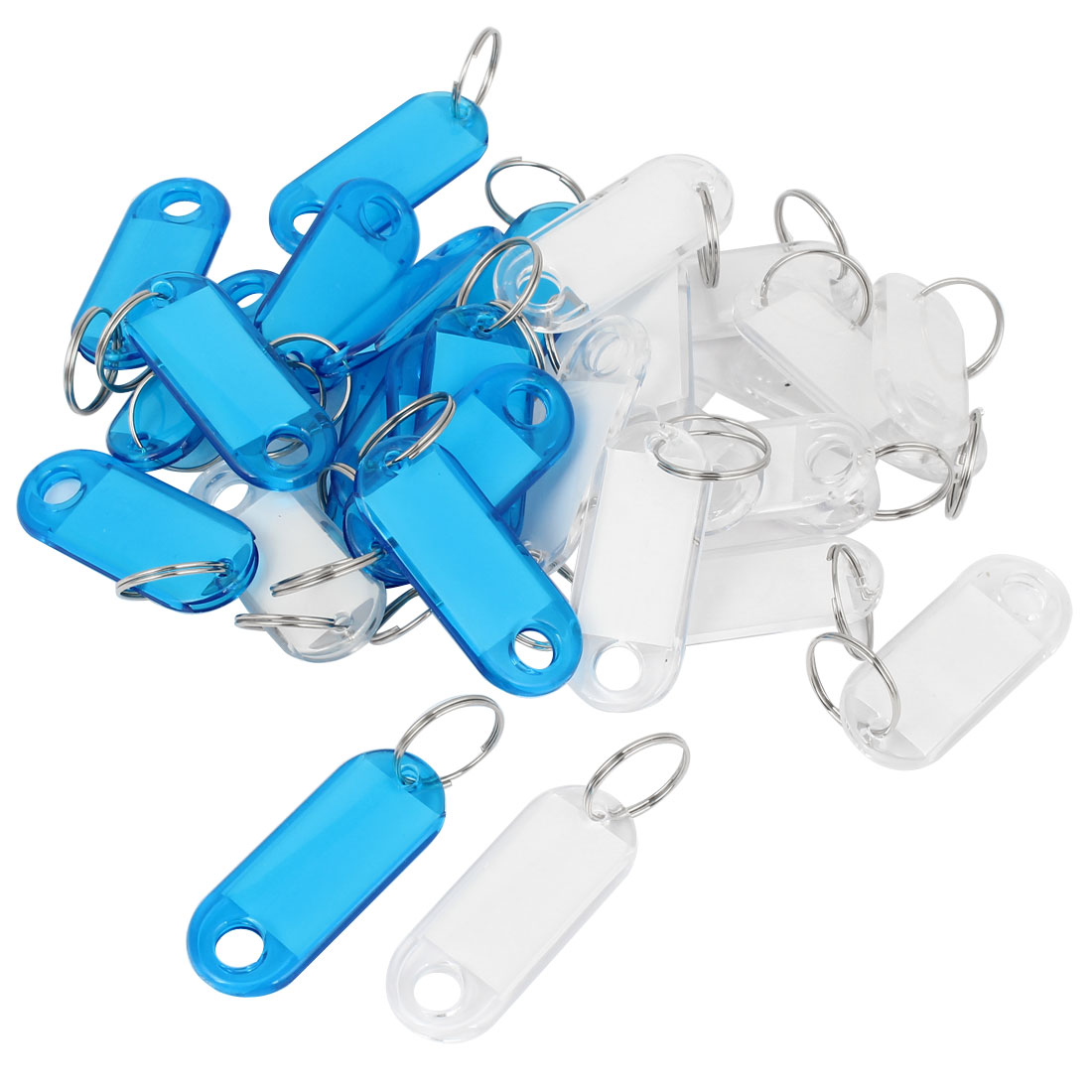 Plastic Key Room ID Tag Name Label Split Ring Keyring Blue Clear 30 Pcs