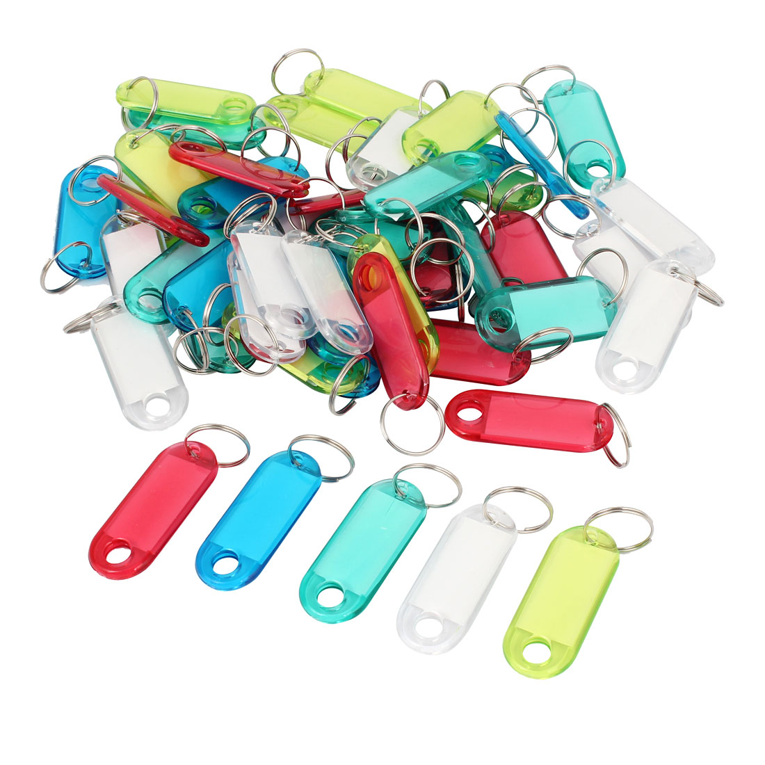 Plastic Key Fobs Luggage ID Label Tag Keyring Assorted Color 50 Pcs