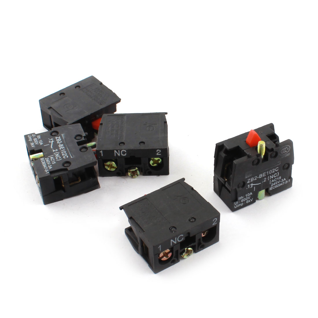 5Pcs AC600V 10A NC Normal Close Momentary Snap in Mount Pushbutton Switch Auxiliary Contact Block
