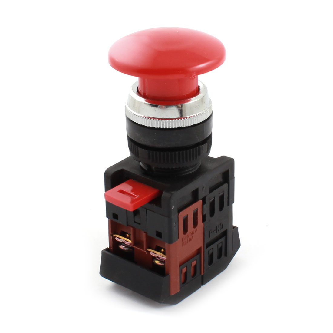 AC 660V 10A 22mm Dia Thread Panel Mount DPST 1NO 1NC Momentary Red Cap Mushroom Push Button Switch