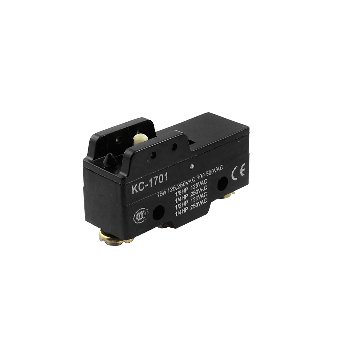 KC-1701 AC 125V/250V/500V 15A/10A SPDT 1NO+1NC 3 Screw Terminal Momentary Push Button Type Black Mini Limit Switch