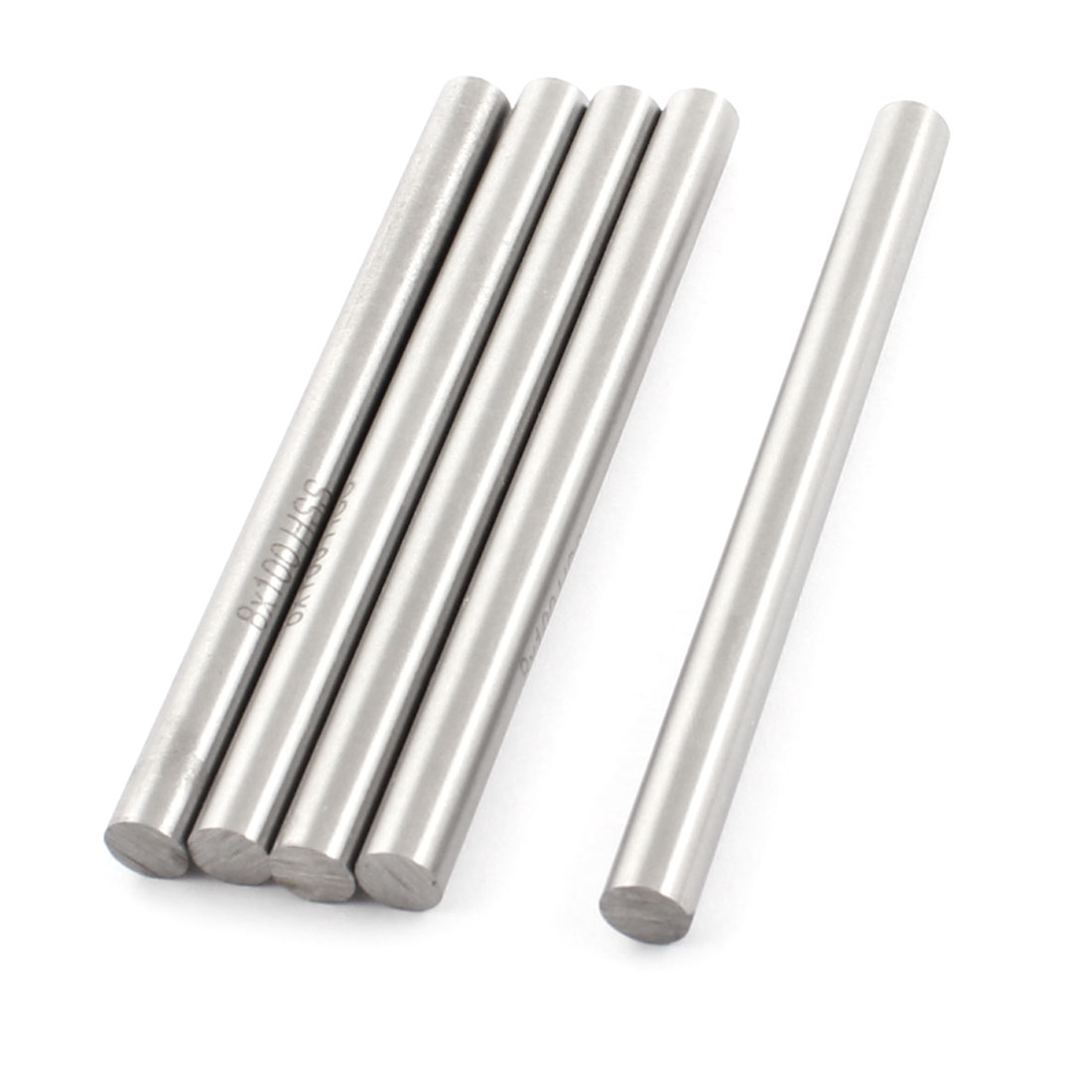 5Pcs 8mm x 100mm Silver Tone HSS Straight Machine Boring Tool Round Lathe Bar Rod