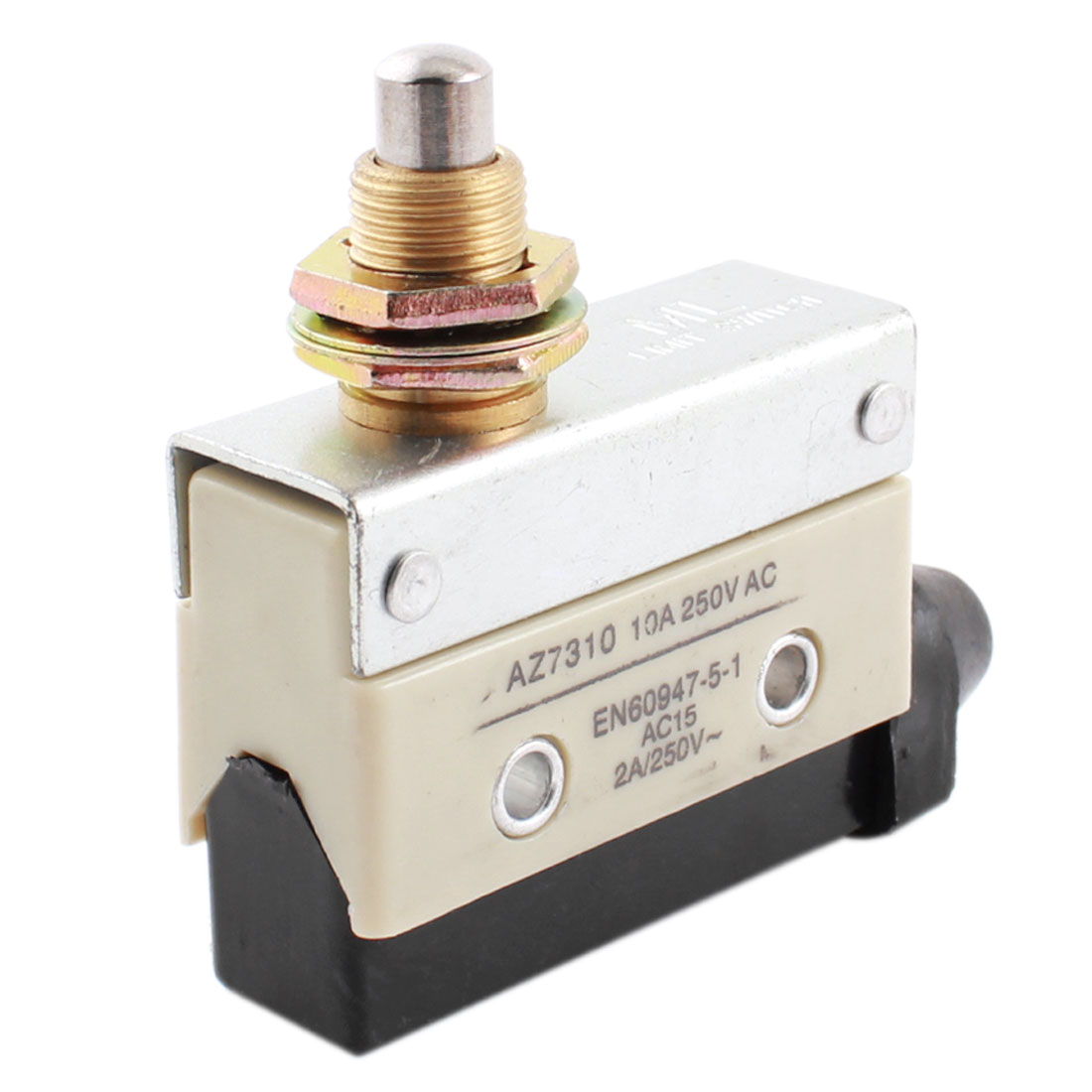 AZ-7310 AC 250V 10A 12mm Dia Thread Panel Mount Plunger Enclosed SPDT 1NO 1NC Momentary Control Micro Limit Switch