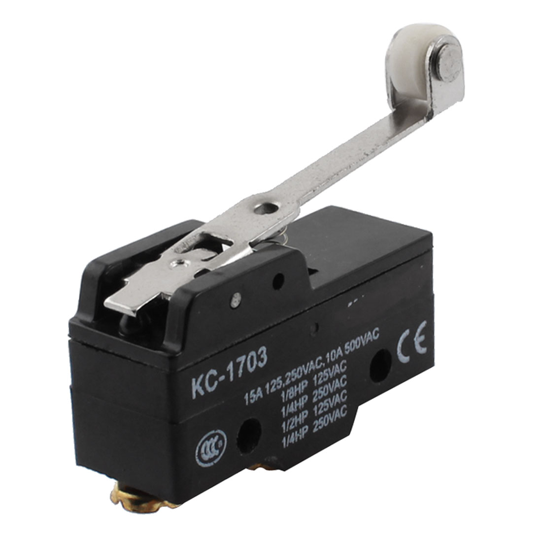 KC-1703 AC 125V/250V/500V 15A/10A SPDT 1NO 1NC 3 Screw Terminal Parallel Long Roller Level Momentary Control Push Button Limit Switch