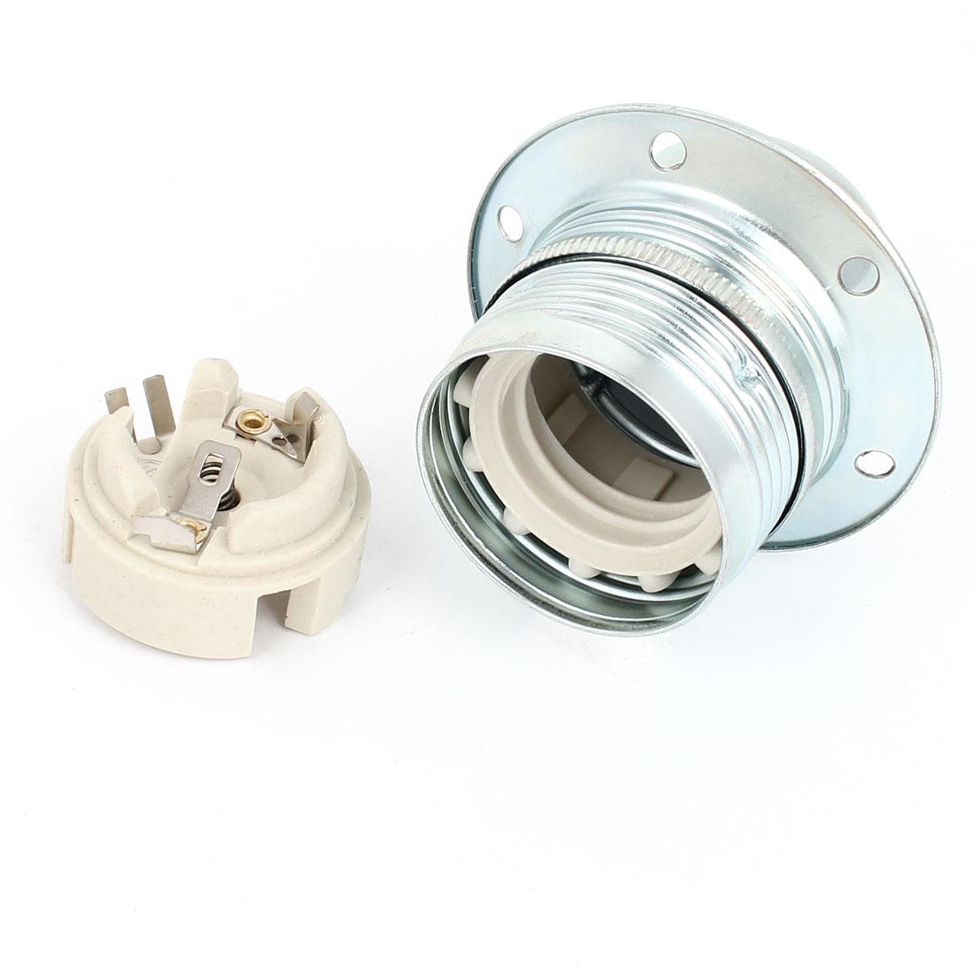 Silver Tone Metal E27 Home DIY Droplight Bulb Base Holder AC 250V 4A