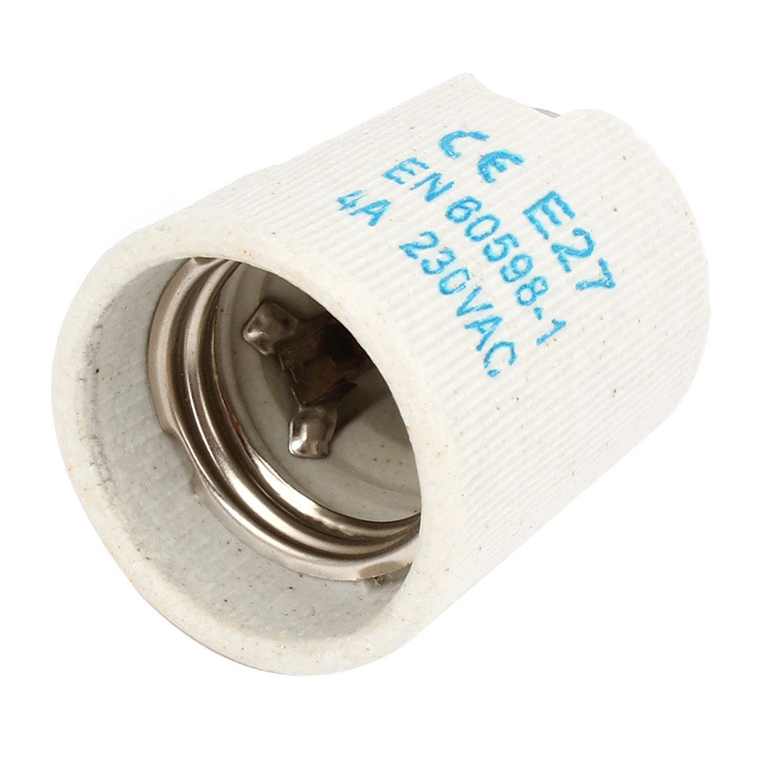 AC 250V 4A Light Gray Ceramic E27 Socket Lamp Bulb Holder w Bracket