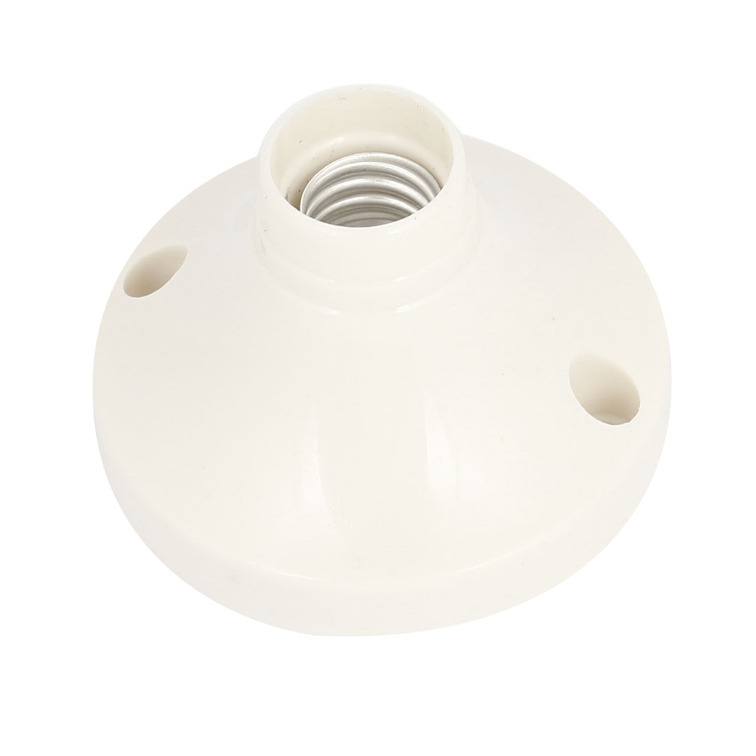 White Plastic Round Base E14 Socket Lamp Bulb Holder AC 250V