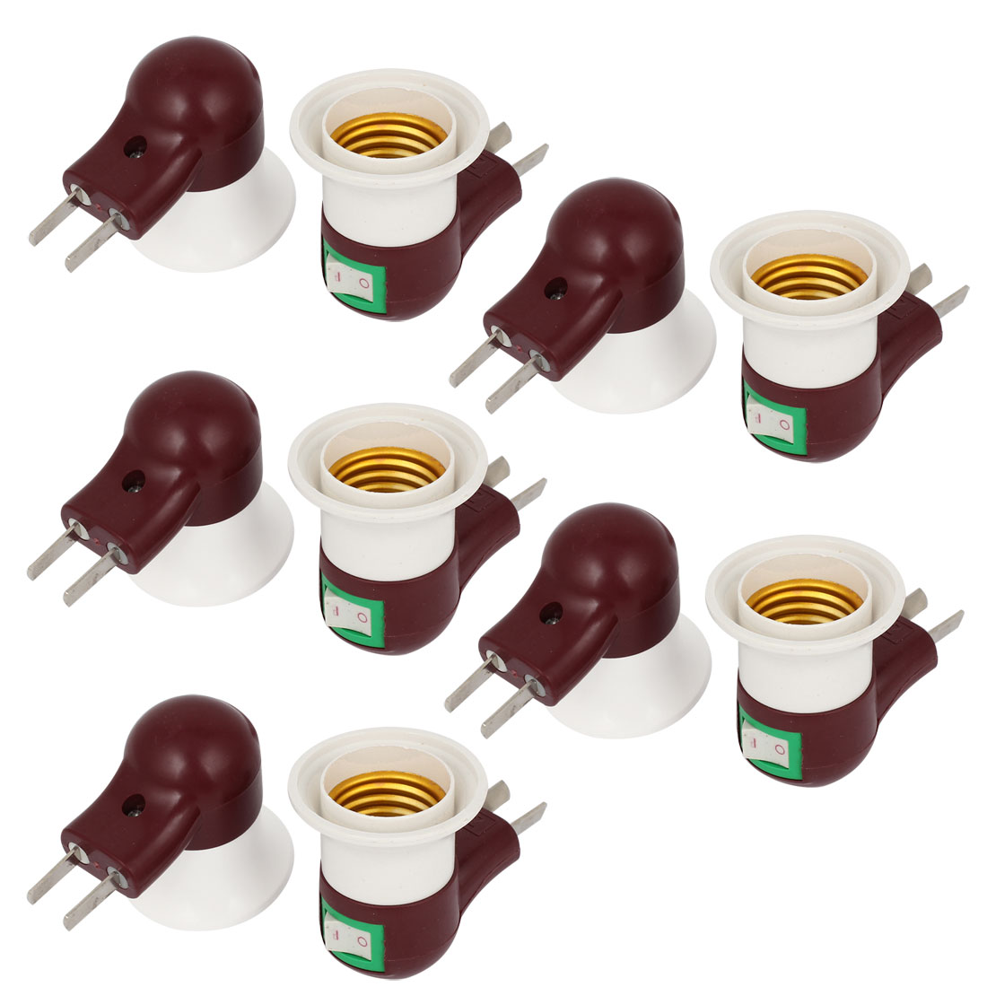 AC 250V AU US Plug E27 Socket Switch Control Bulb Holder Lamp Adapter 10pcs