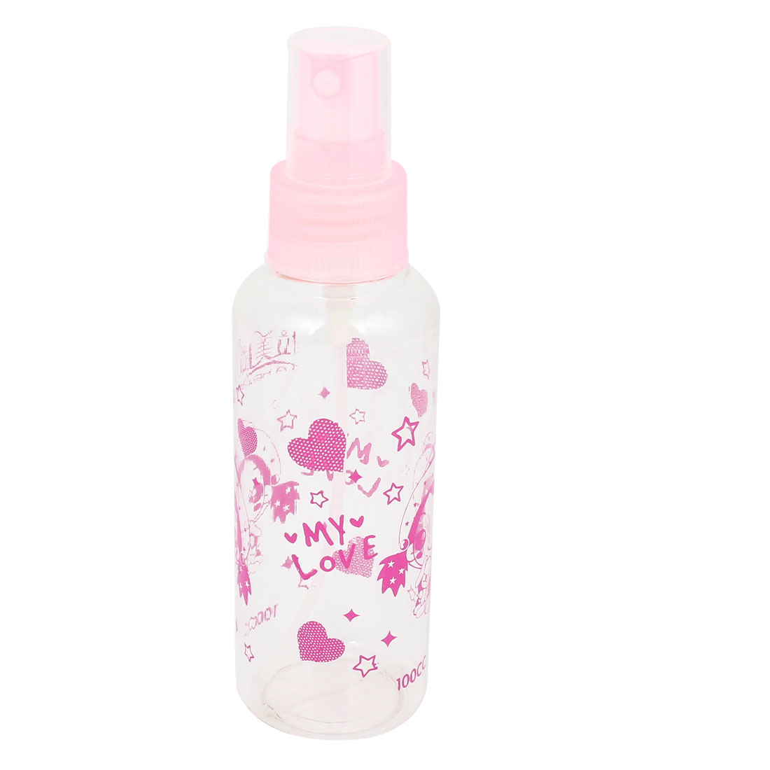 Travel Fuchsia Heart Pattern Spray Bottle Holder Container Pink Clear 100ml