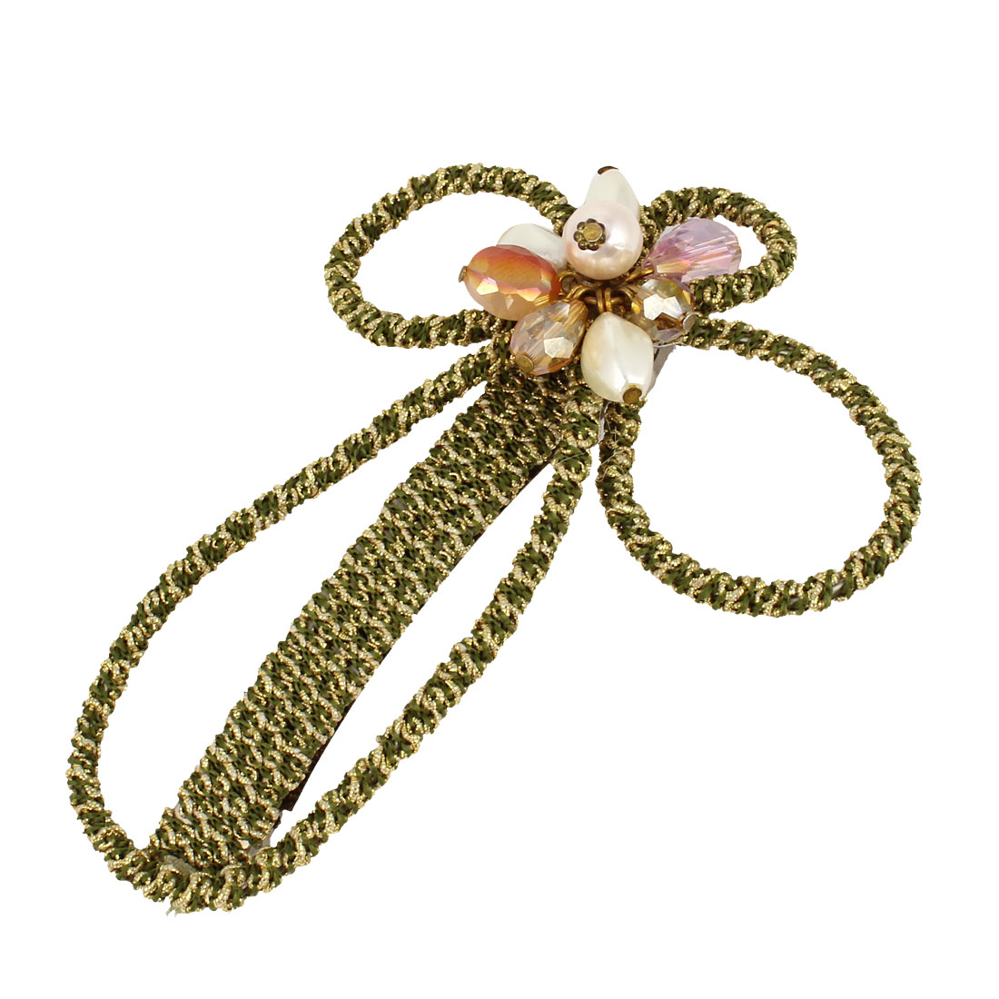 Women Beads Faux Crystal Accent Floral Hair Clip Barrette Green Gold Tone