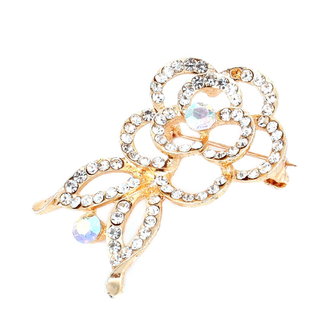 Rhinestone Inlaid Flower Design Gold Tone Wedding Bridal Safety Pin Brooch